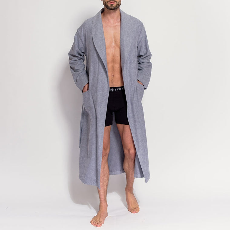 Men's Grey Herringbone Brushed Cotton Robe (front, open view) by British Boxers, available at The Mantique Winchester