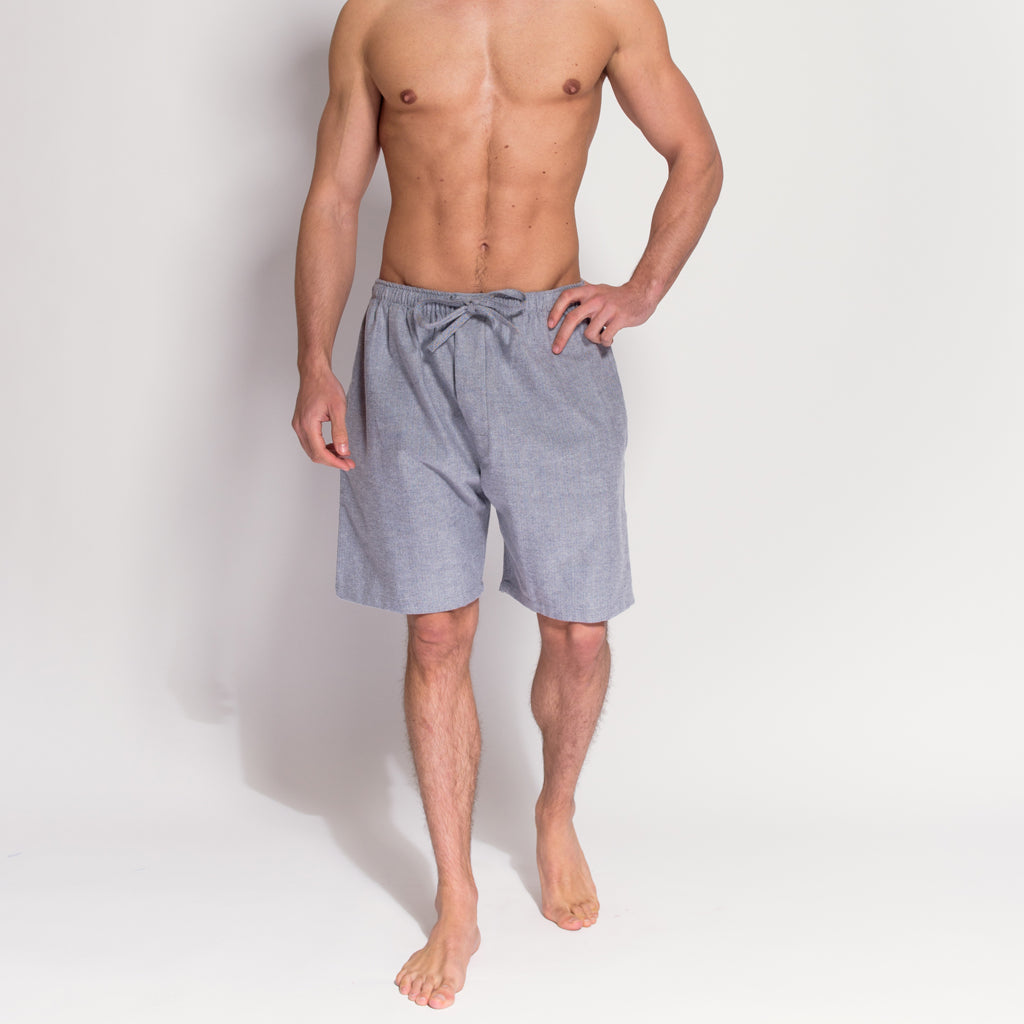 Men's Grey Herringbone Brushed Cotton Pyjama Shorts (front view) by British Boxers, available at The Mantique Winchester