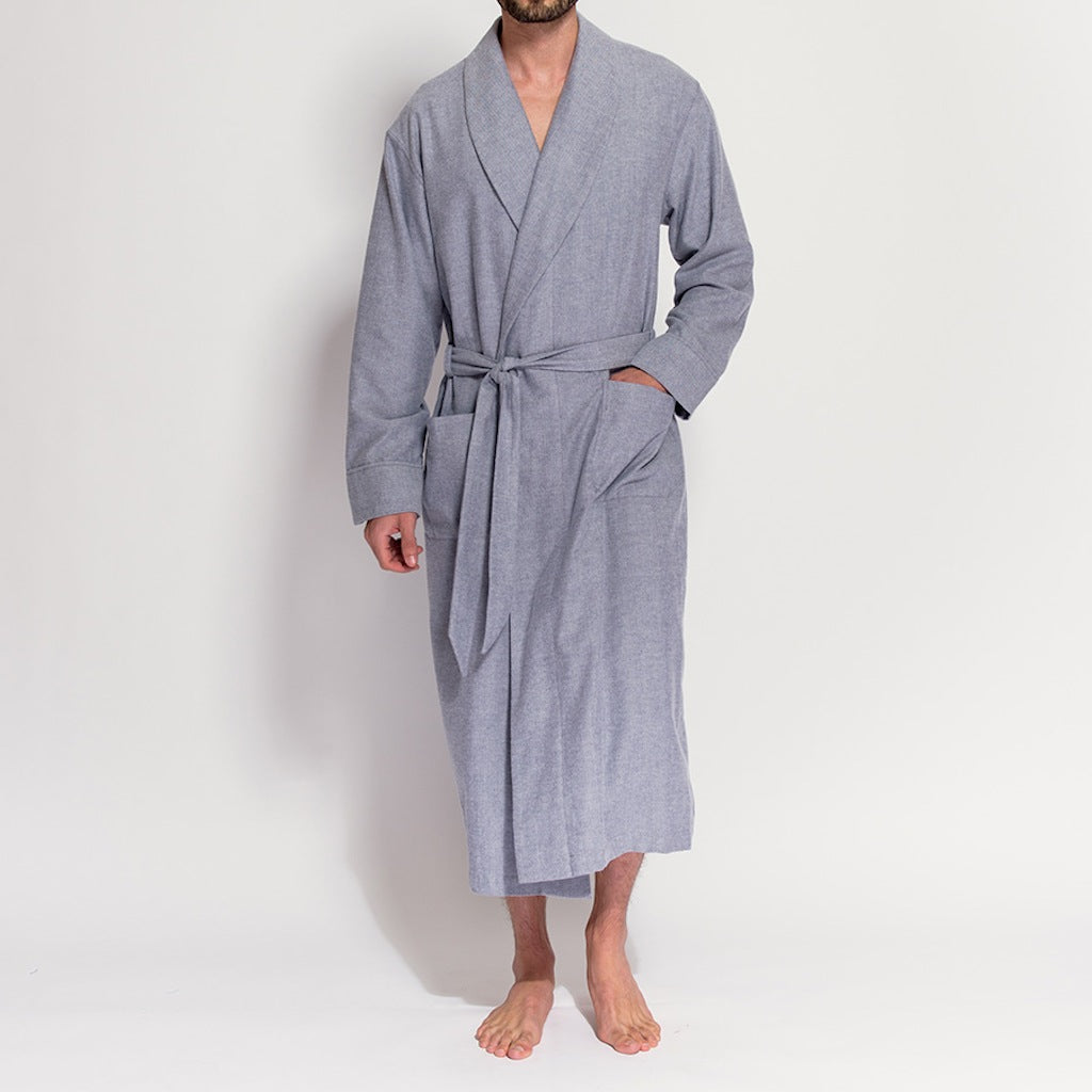 Men's Grey Herringbone Brushed Cotton Robe (front fastened view) by British Boxers, available at The Mantique Winchester