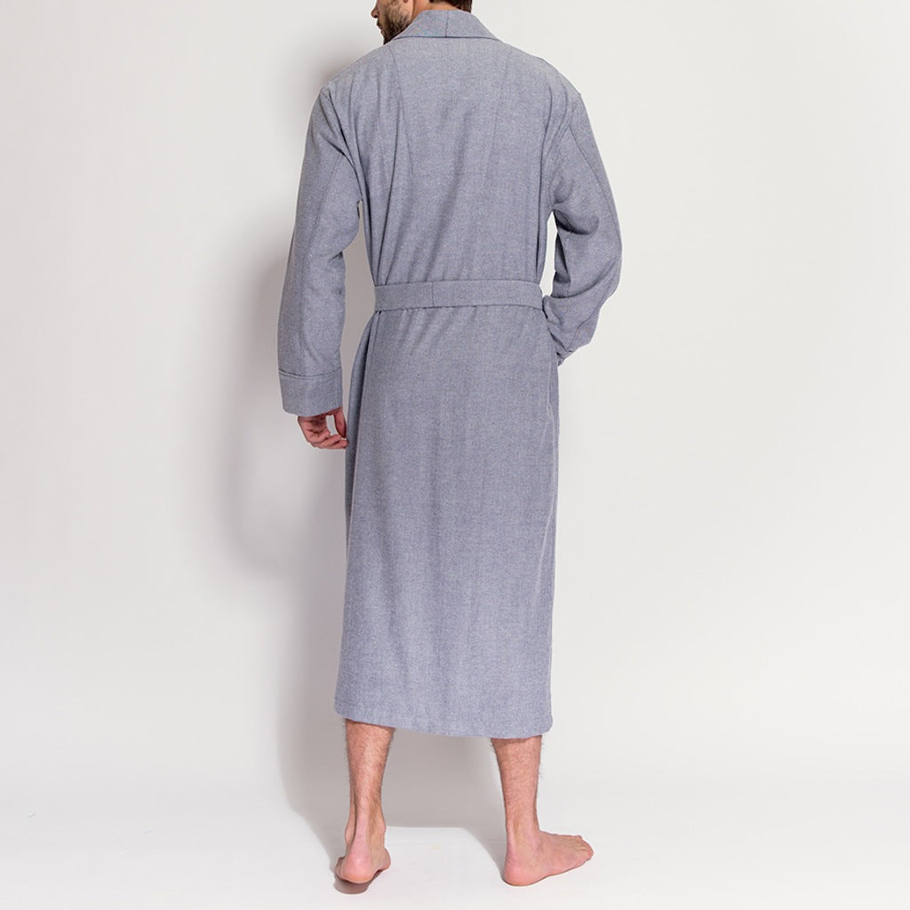 Men's Grey Herringbone Brushed Cotton Robe (rear view) by British Boxers, available at The Mantique Winchester