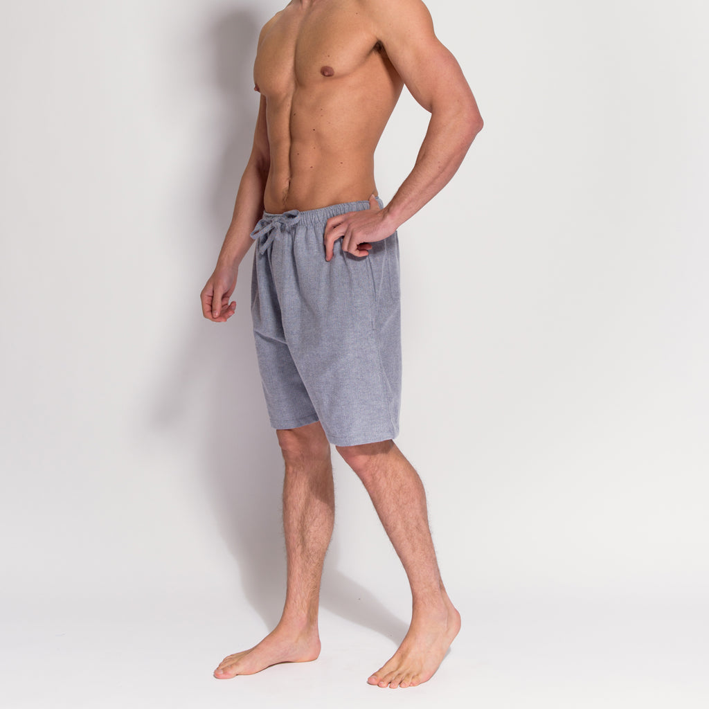 Men's Grey Herringbone Brushed Cotton Pyjama Shorts (side view) by British Boxers, available at The Mantique Winchester