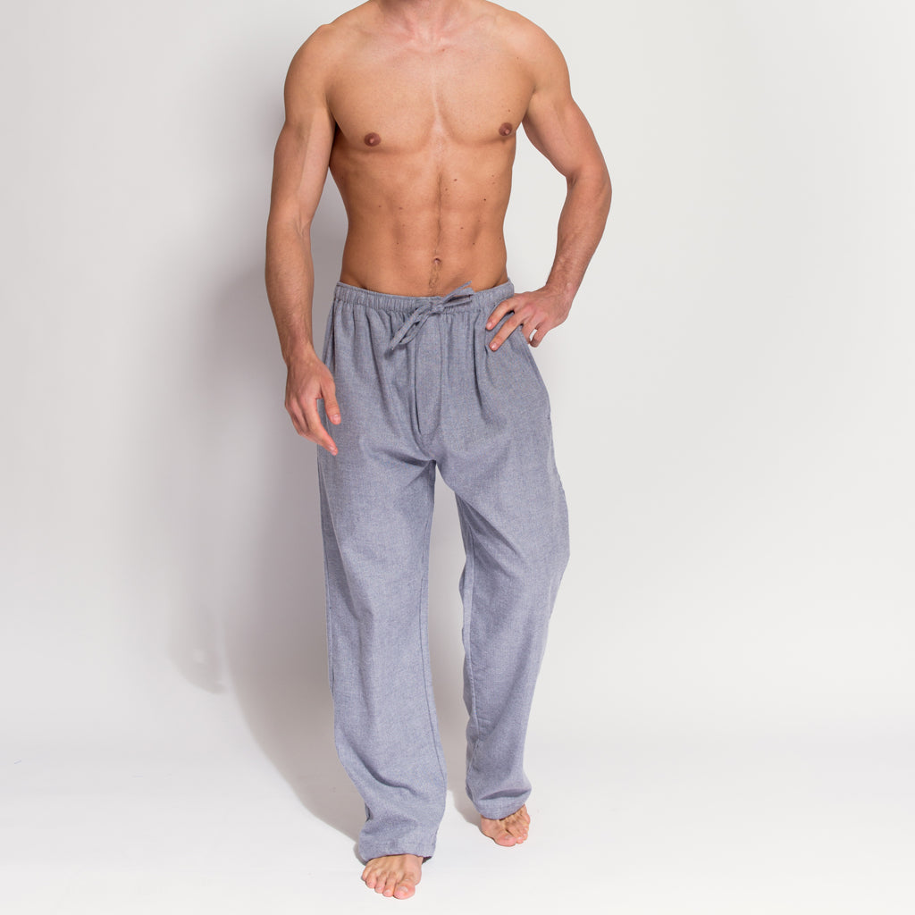 Men's Grey Herringbone Brushed Cotton Pyjama Trousers (front view) by British Boxers, available at The Mantique Winchester