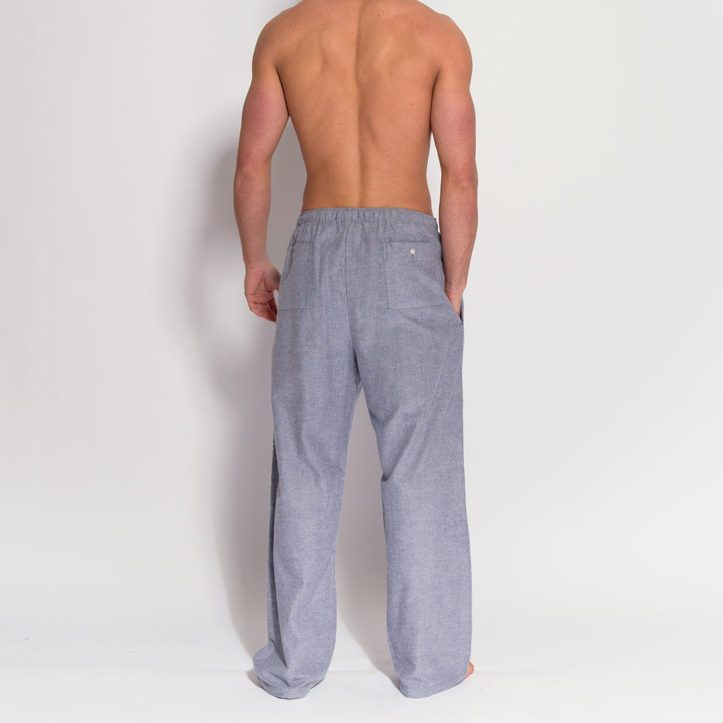 Men's Grey Herringbone Brushed Cotton Pyjama Trousers (rear view) by British Boxers, available at The Mantique Winchester