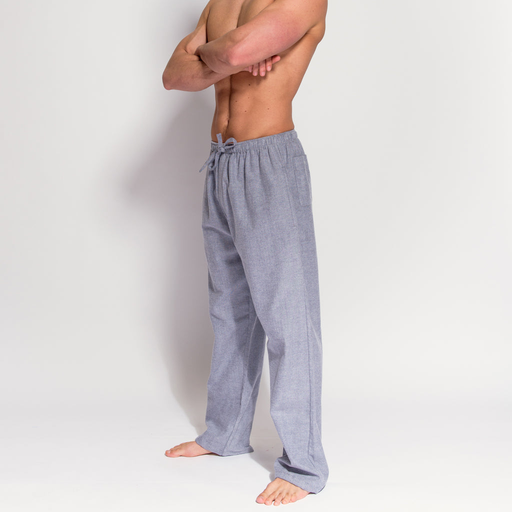 Men's Grey Herringbone Brushed Cotton Pyjama Trousers (side view) by British Boxers, available at The Mantique Winchester