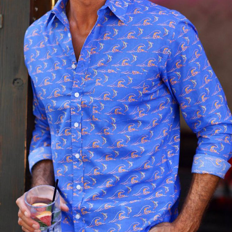 Men's summer cotton shirt from Frangipani with vibrant blue print design. Exclusive British design from The Mantique Winchester