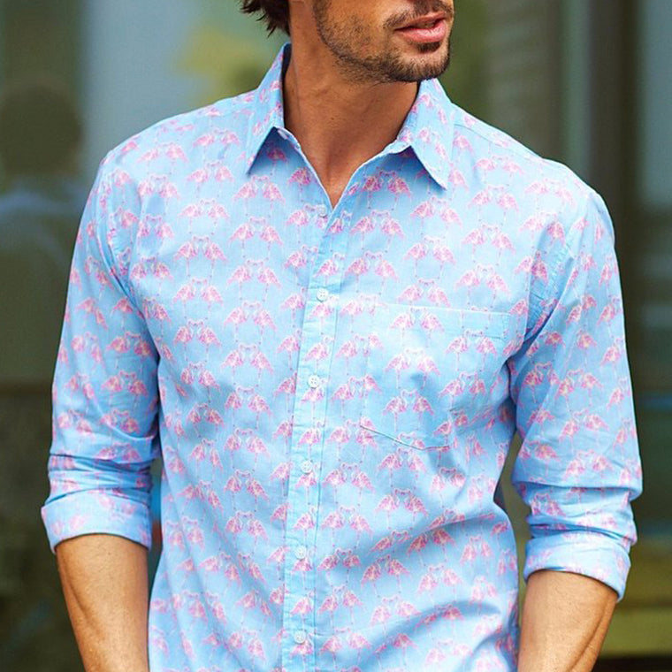 Men's blue summer cotton shirt from Frangipani with peacock print design. Exclusive British design from The Mantique Winchester