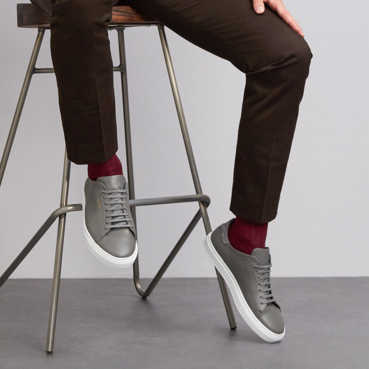 Spot Of Style fine knit cotton socks in Burgundy from London Sock Company, available at The Mantique Winchester