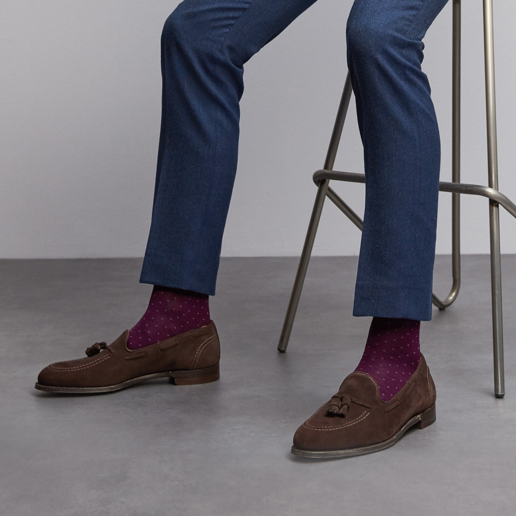 Spot Of Style fine knit cotton socks in Bordeaux from London Sock Company, available at The Mantique Winchester