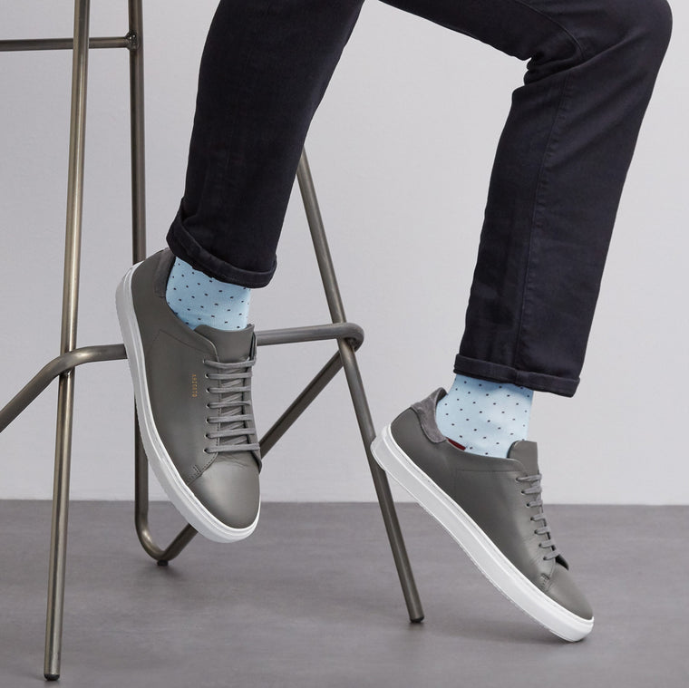 Spot Of Style fine knit cotton socks in Light Blue from London Sock Company, available at The Mantique Winchester