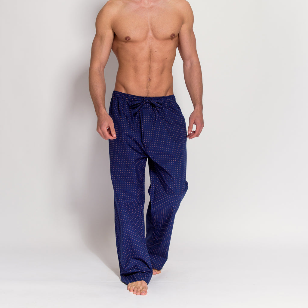 Men's Navy Blue 100% Cotton Pyjama Trousers (front view) by British Boxers, available at The Mantique Winchester