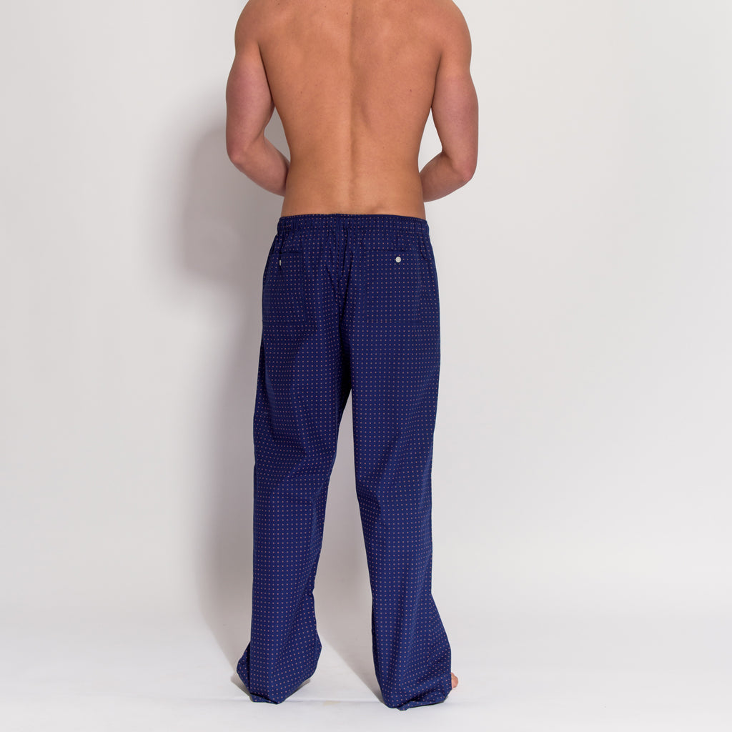 Men's Navy Blue 100% Cotton Pyjama Trousers (rear view) by British Boxers, available at The Mantique Winchester