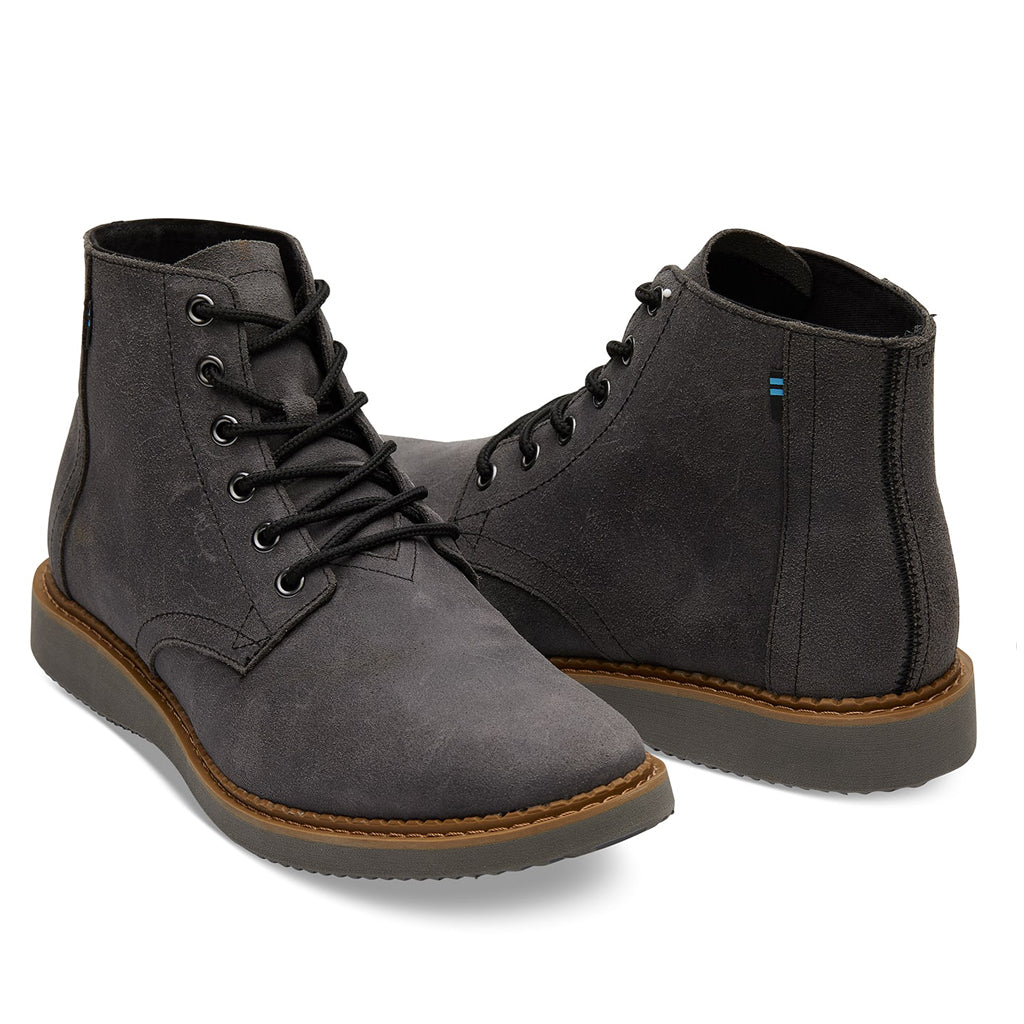 Men's Black Leather Porter Boots from TOMS (front detail) available from The Mantique Winchester