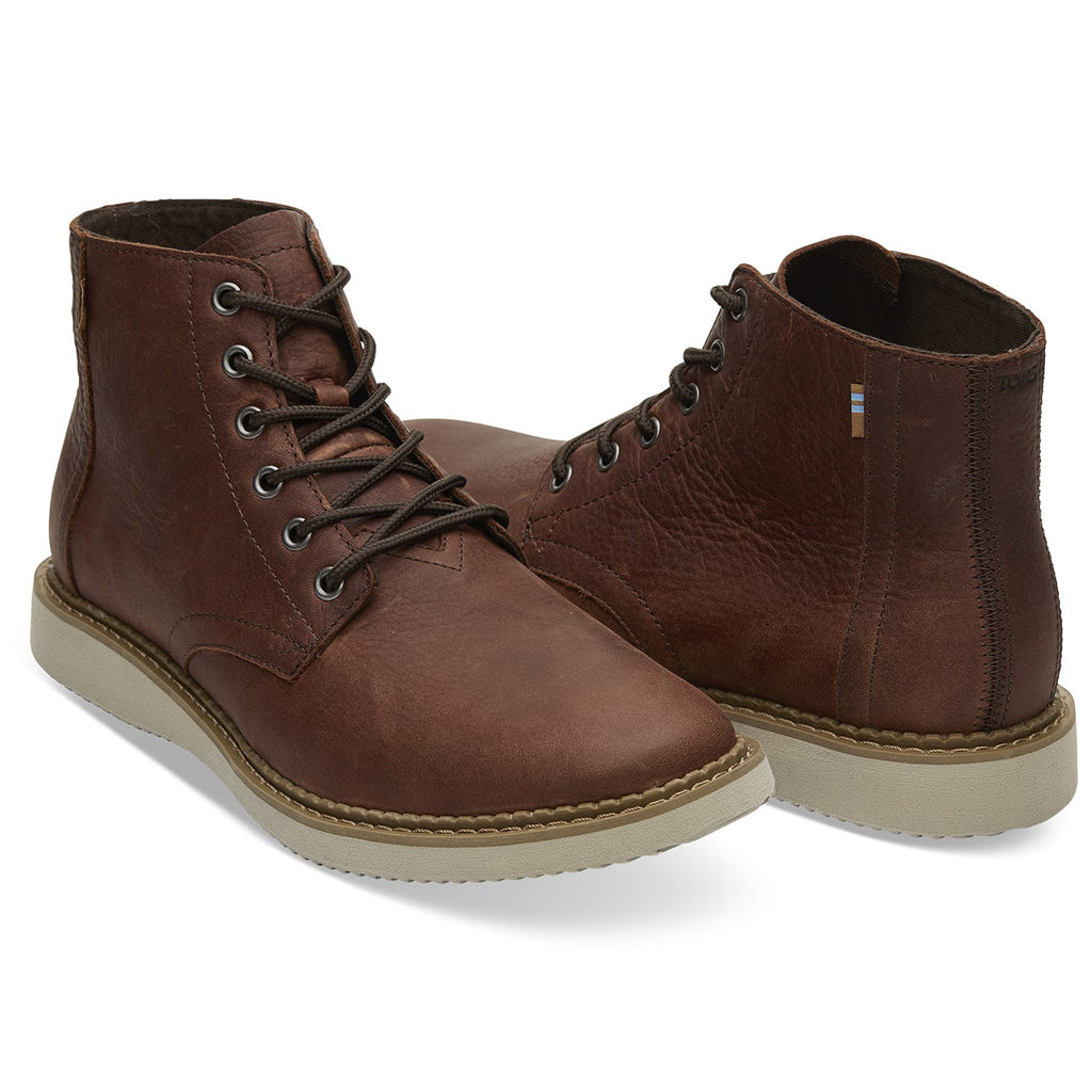 Men's Brown Leather Porter Boots from TOMS (front detail). Available at The Mantique Winchester