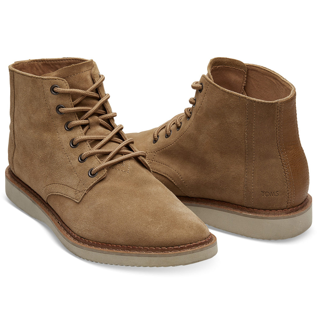 Men's Toffee Brown Suede Boots from TOMS (front detail). Available from The Mantique Winchester