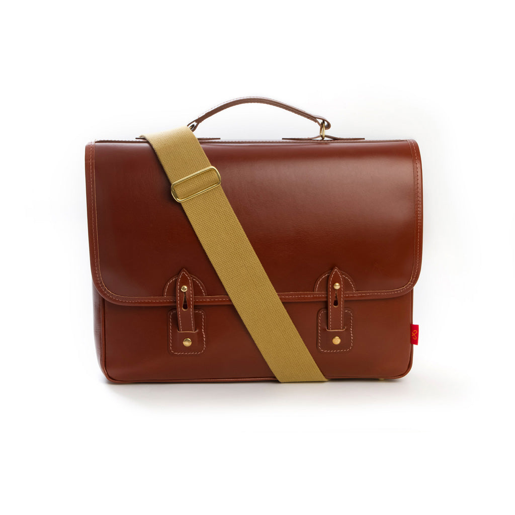 Men's full leather brown satchel from Chapman Bags. British designed and made in Carlisle. Available at The Mantique Winchester
