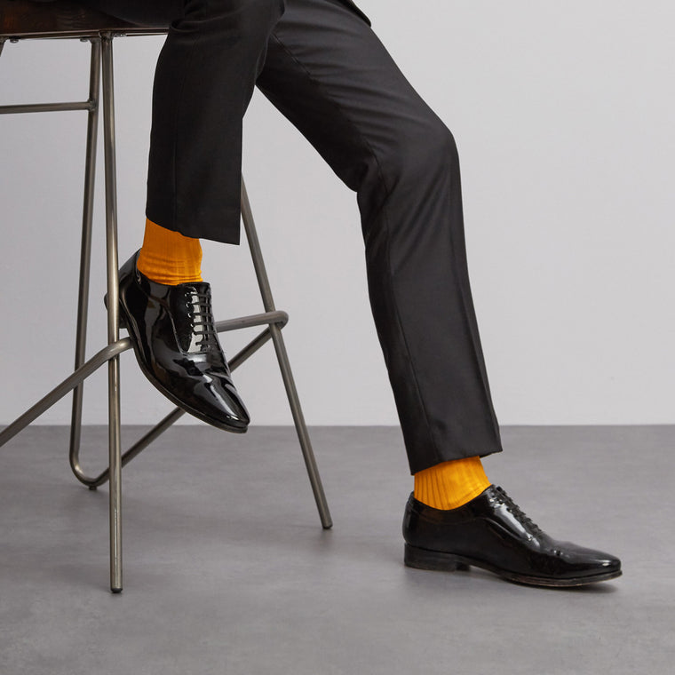 Simply Sartorial Mustard Yellow fine knit cotton socks from London Sock Company, available at The Mantique Winchester