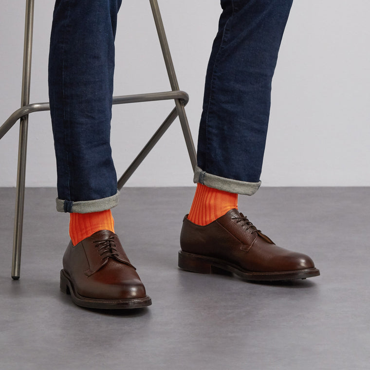 Simply Sartorial Curious Orange fine knit cotton socks from London Sock Company, available at The Mantique Winchester