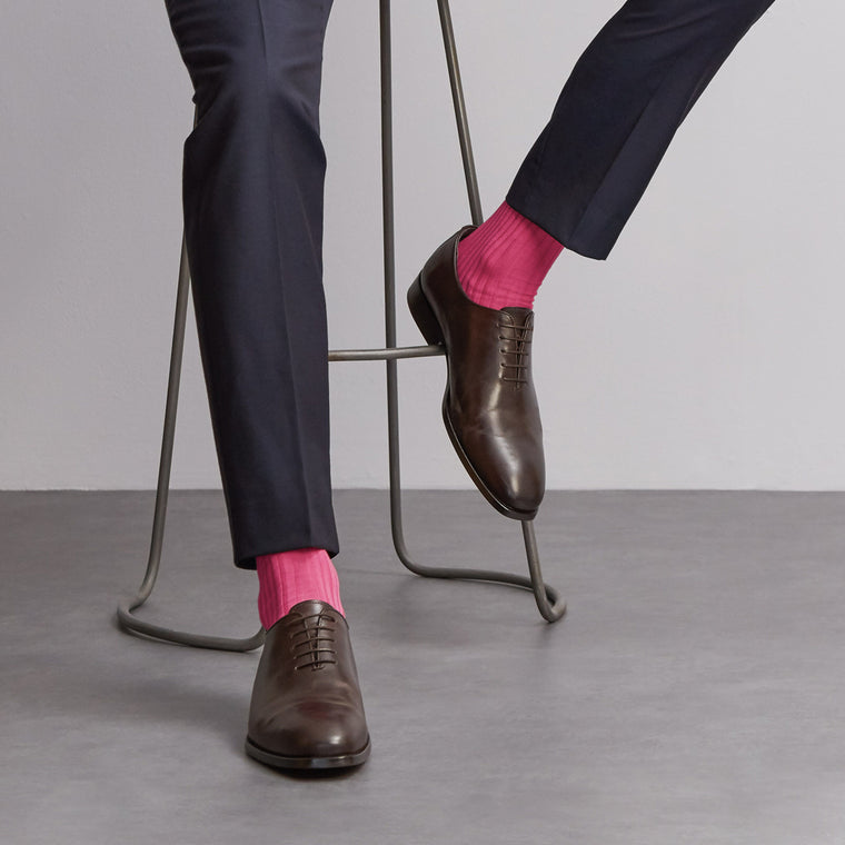 Simply Sartorial Pink fine knit cotton socks from London Sock Company, available at The Mantique Winchester