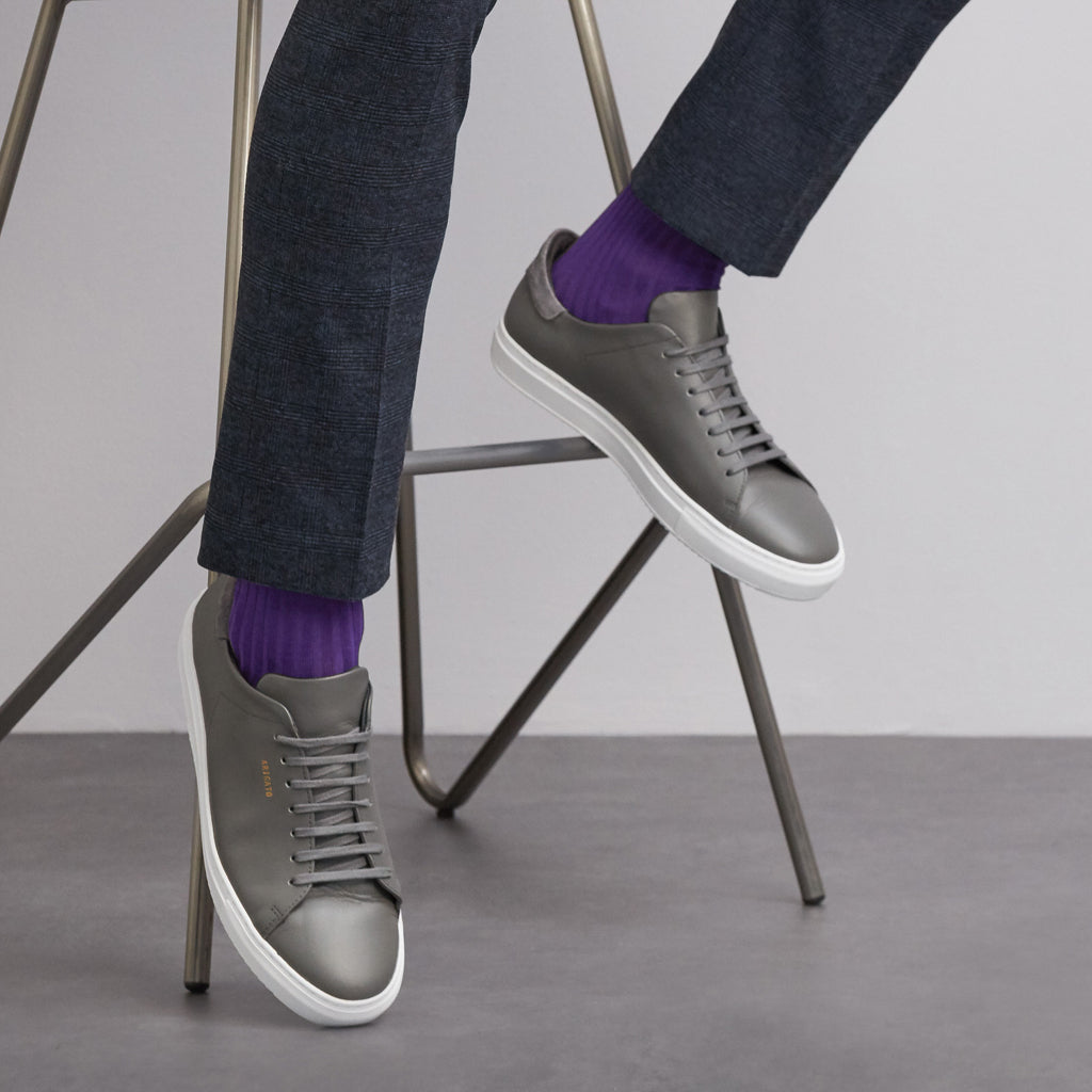 Simply Sartorial Heather Purple fine knit cotton socks from London Sock Company, available at The Mantique Winchester