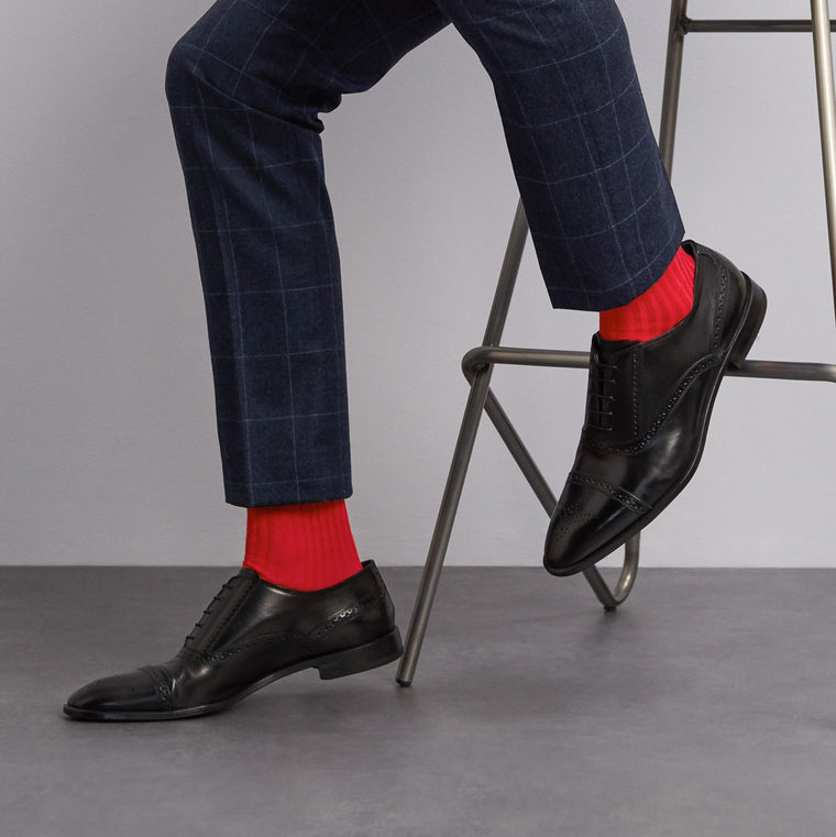 Simply Sartorial Red fine knit cotton socks from London Sock Company, available at The Mantique Winchester