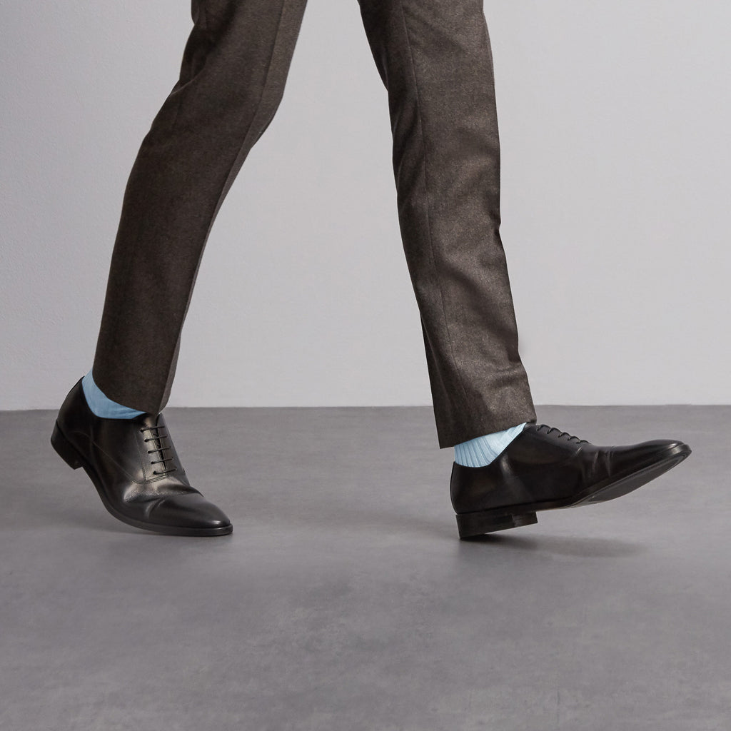 Simply Sartorial Light Blue fine knit cotton socks from London Sock Company, available at The Mantique Winchester