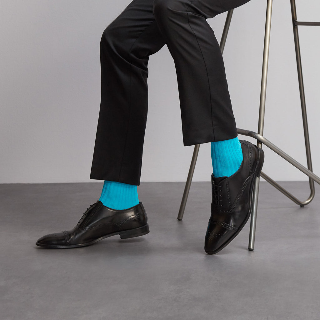 Simply Sartorial Turquoise Blue fine knit cotton socks from London Sock Company, available at The Mantique Winchester