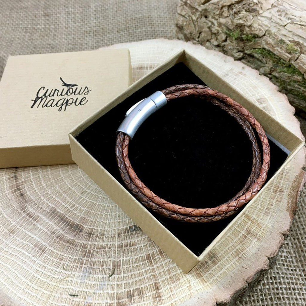 Men's Trinity Brown Leather Bracelet with gift box from Curious Magpie, available at The Mantique Winchester