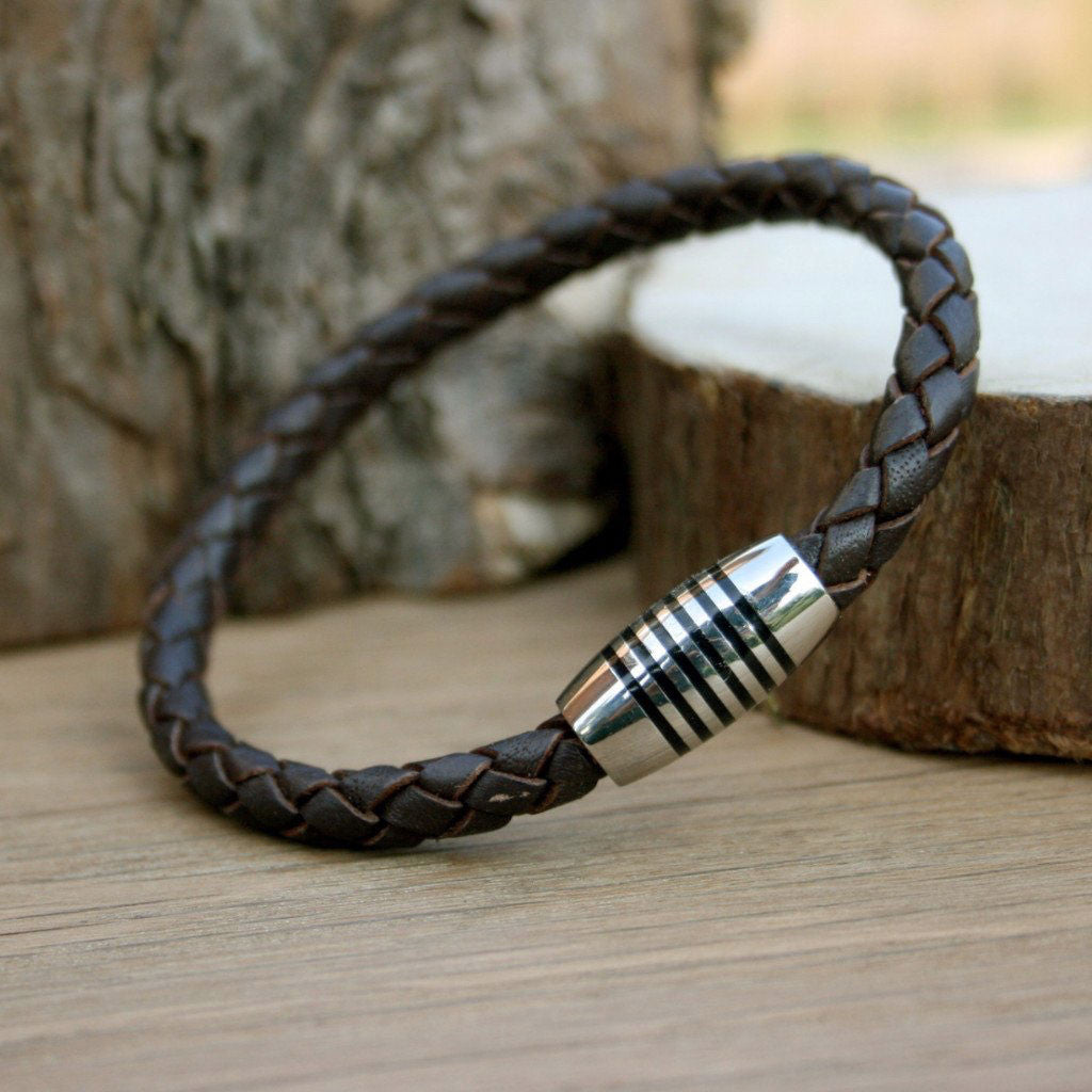 Apollo Brown Leather Bracelet from The Mantique, Winchester