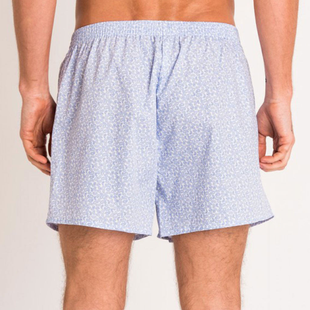 British Boxers Blue White Paisley Boxer Shorts from The Mantique, Winchester