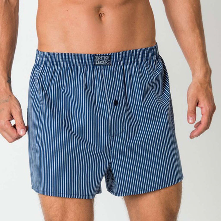 British Boxers Navy/Silver Stripe Boxer Shorts from The Mantique, Winchester