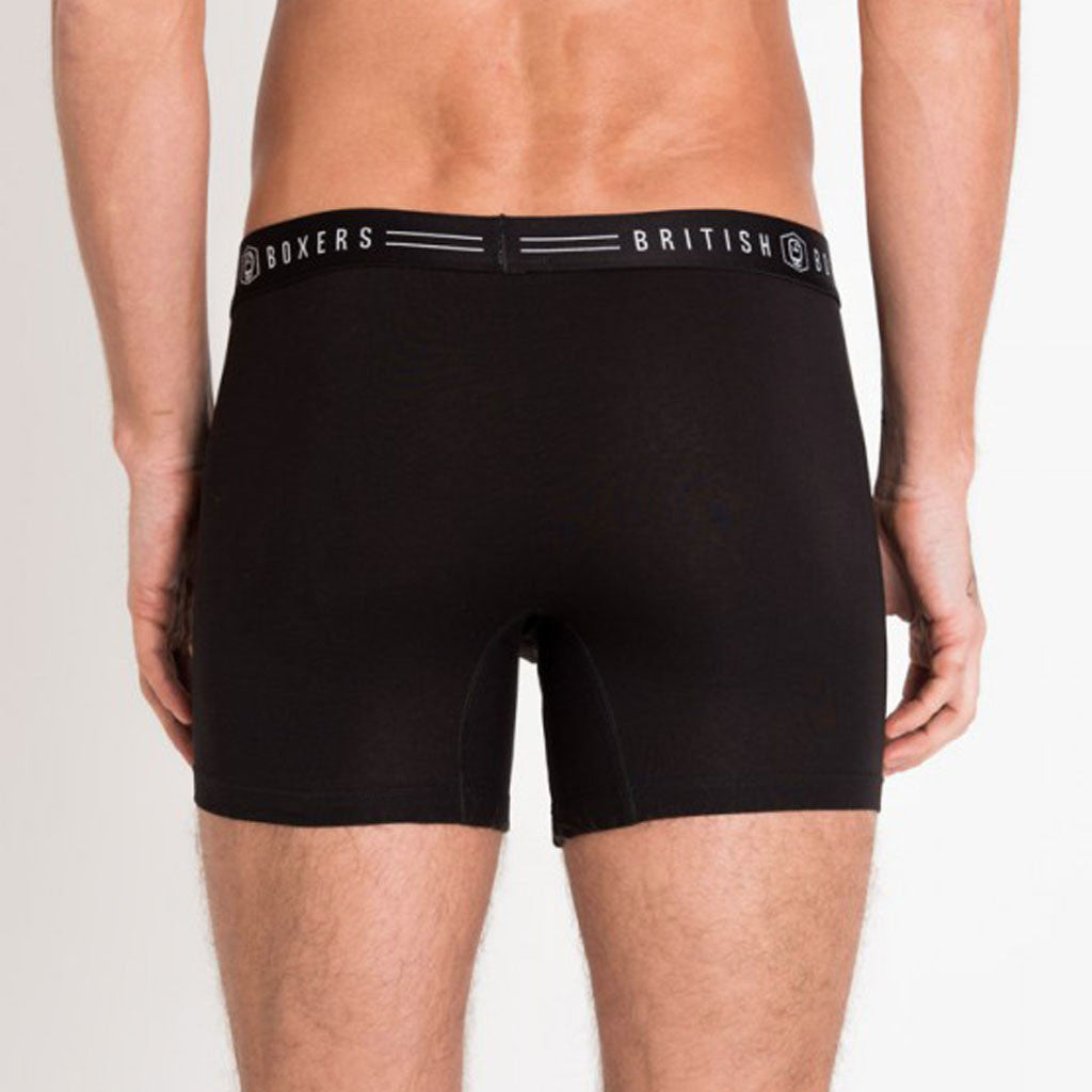 British Boxers Black Stretch Trunks from The Mantique, Winchester