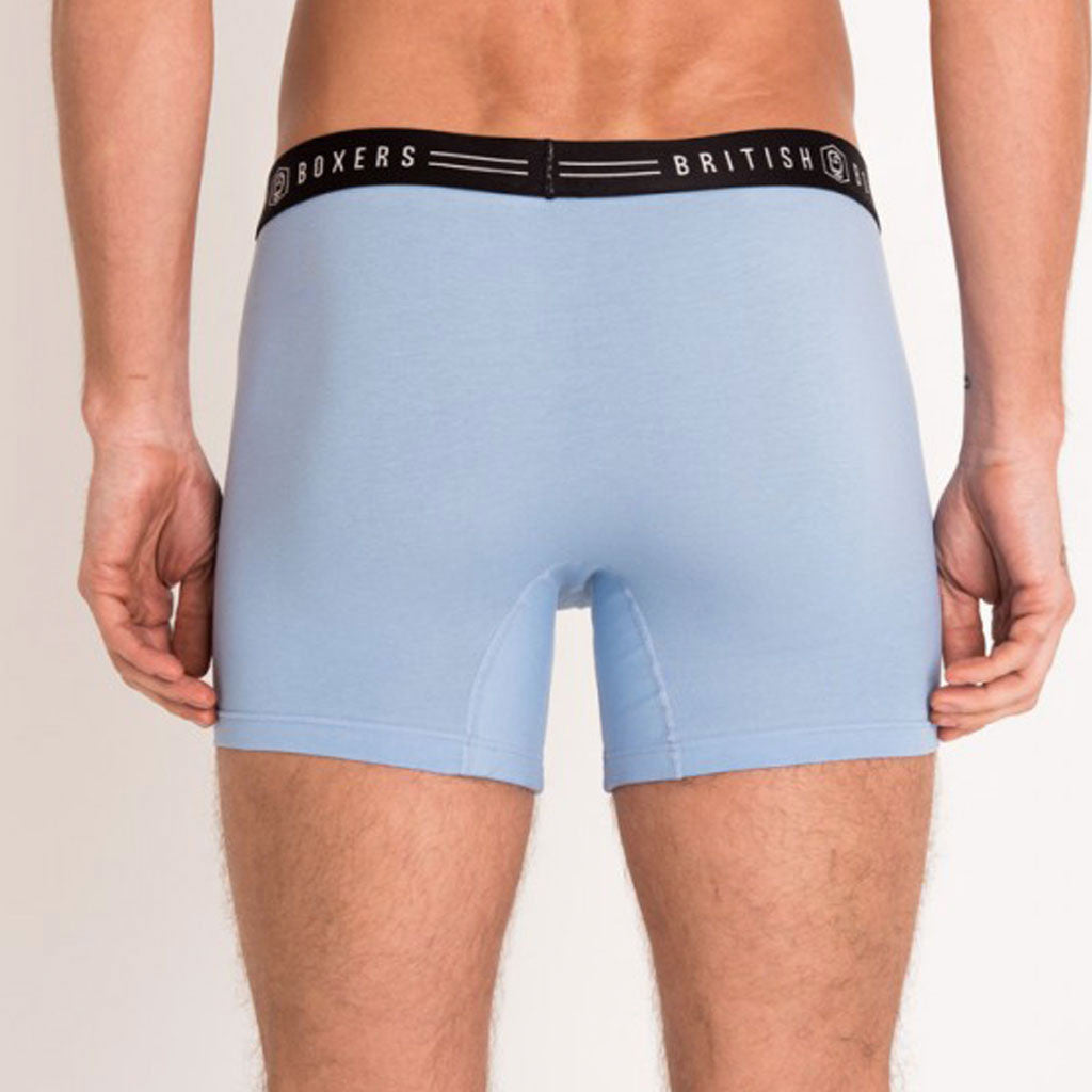 British Boxers Blue Monday Stretch Trunks from The Mantique, Winchester