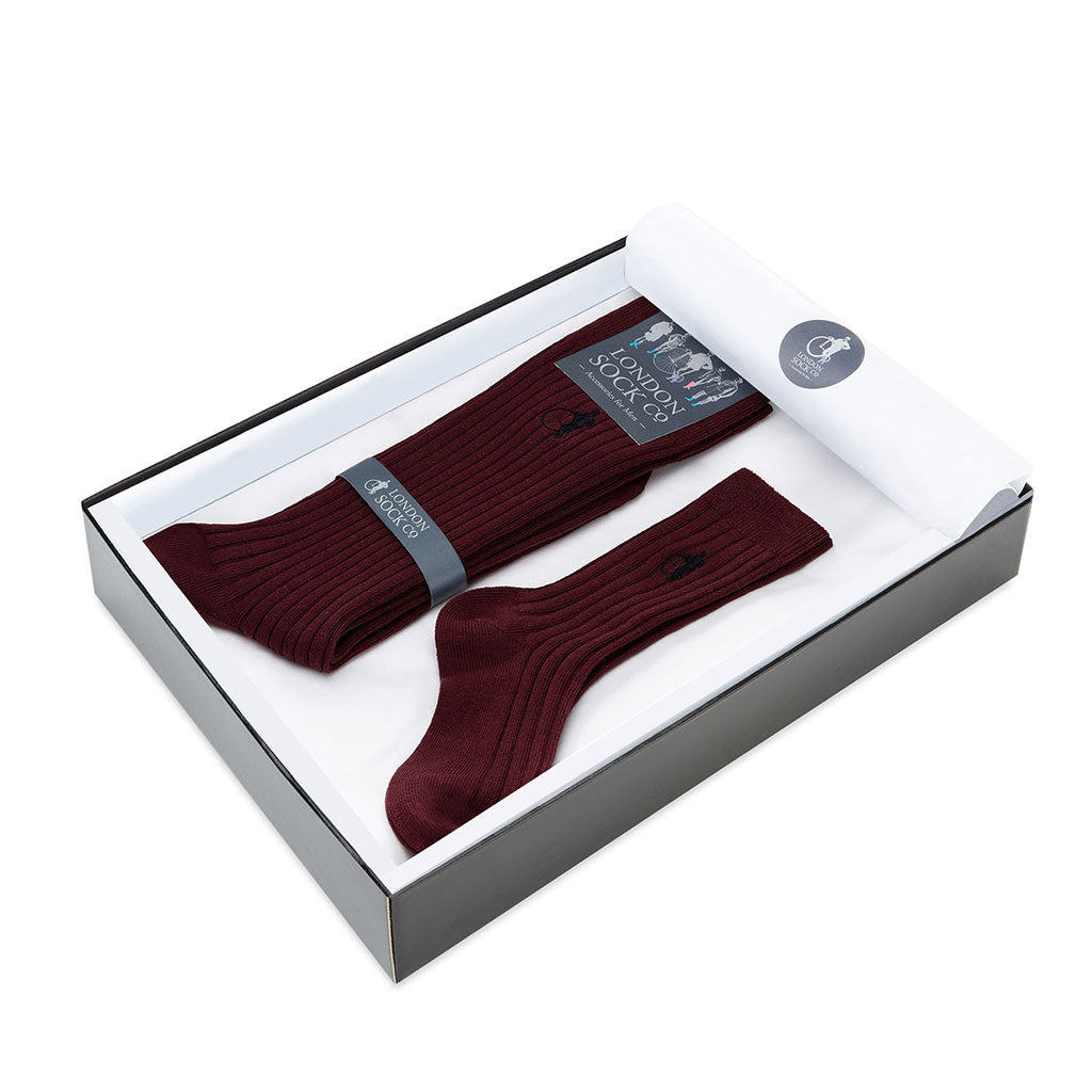 Rich Burgundy Socks Gift Set from The Mantique, Winchester