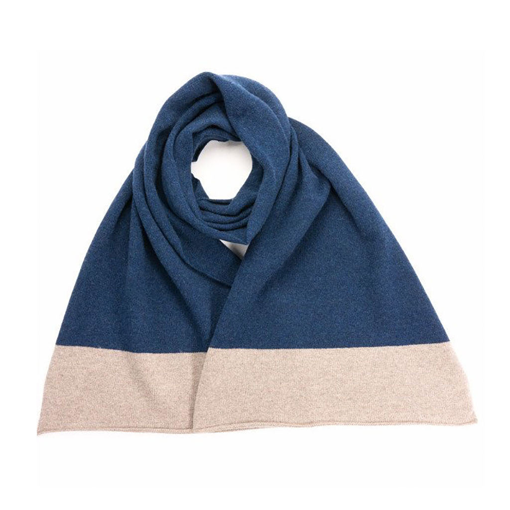 Catherine Tough 100% Lambswool Mushroom & Navy Scarf from The Mantique, Winchester