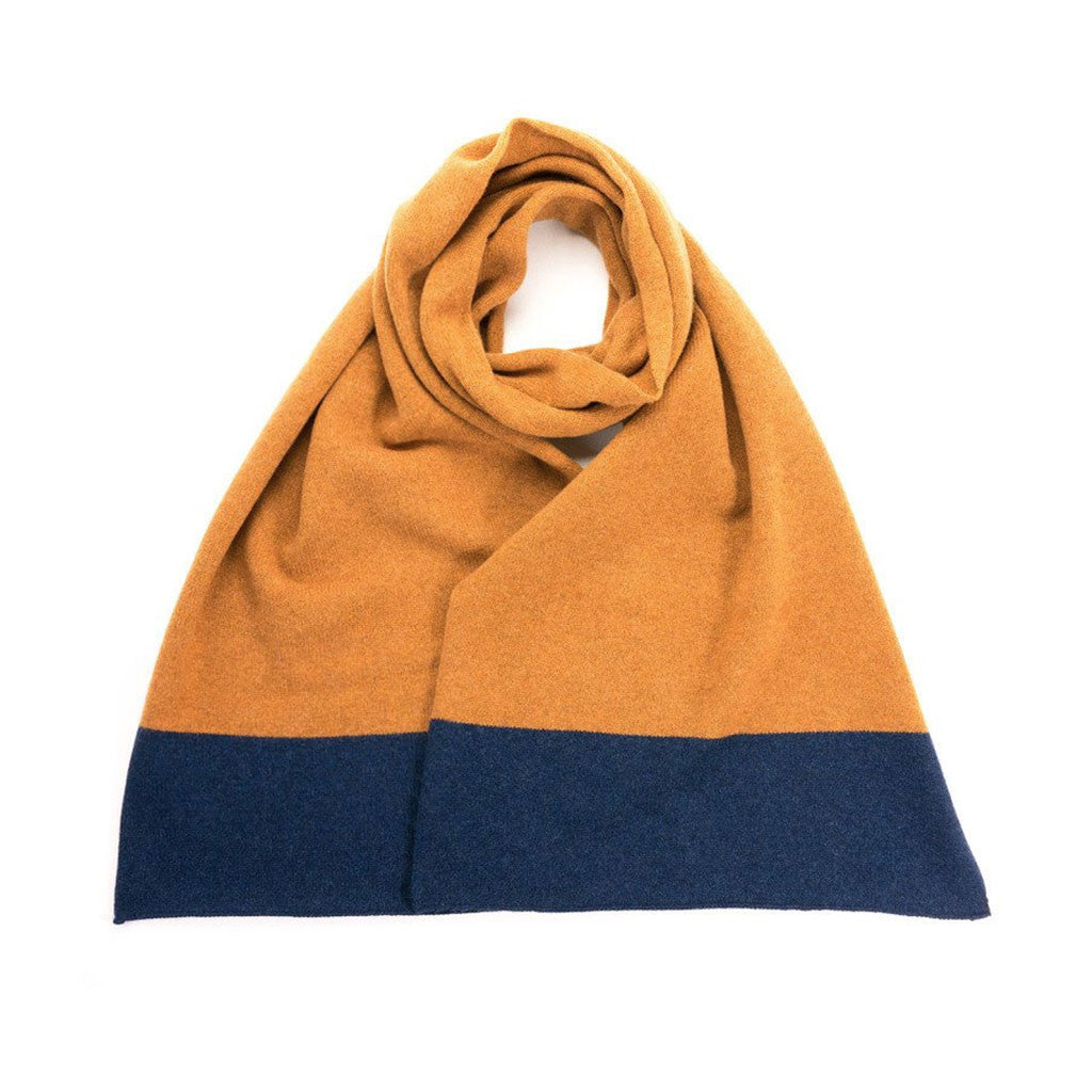 Catherine Tough Lambswool scarf in Navy & Gold from The Mantique, Winchester