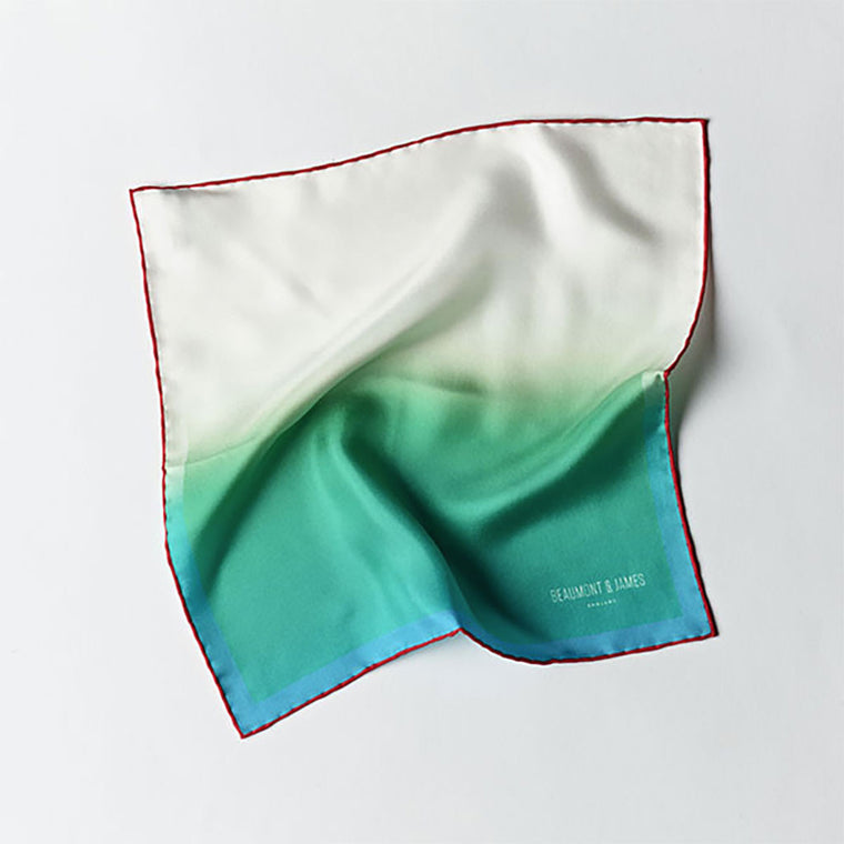 Green / White / Red Pocket Square from The Mantique, Winchester