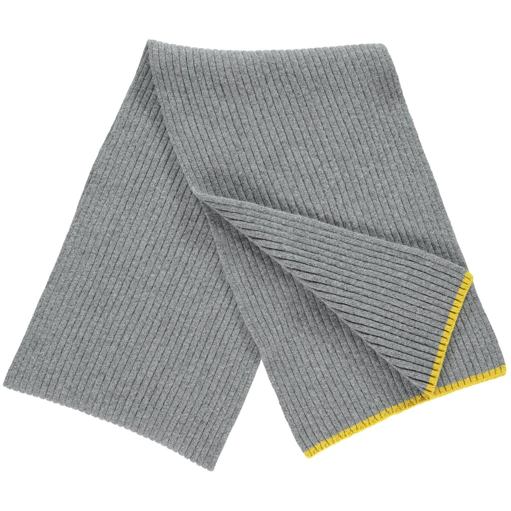Men's merino lambswool scarf in grey, hand knitted with rib stitch, by Catherine Tough. Exclusive British design available at The Mantique Winchester