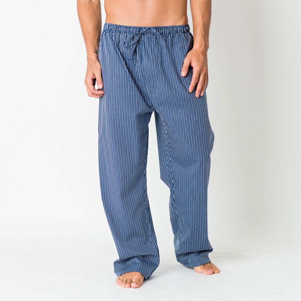 Rudyard Navy & Silver Stripe Pyjama Trousers from The Mantique, Winchester