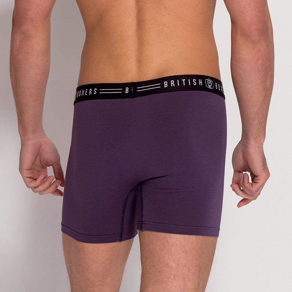 British Made Men's thistle cotton stretch trunks (back view) from British Boxers at The Mantique Winchester