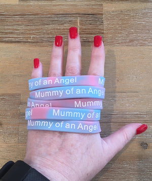 """Mummy of an Angel"" Pink & Blue Wristbands"
