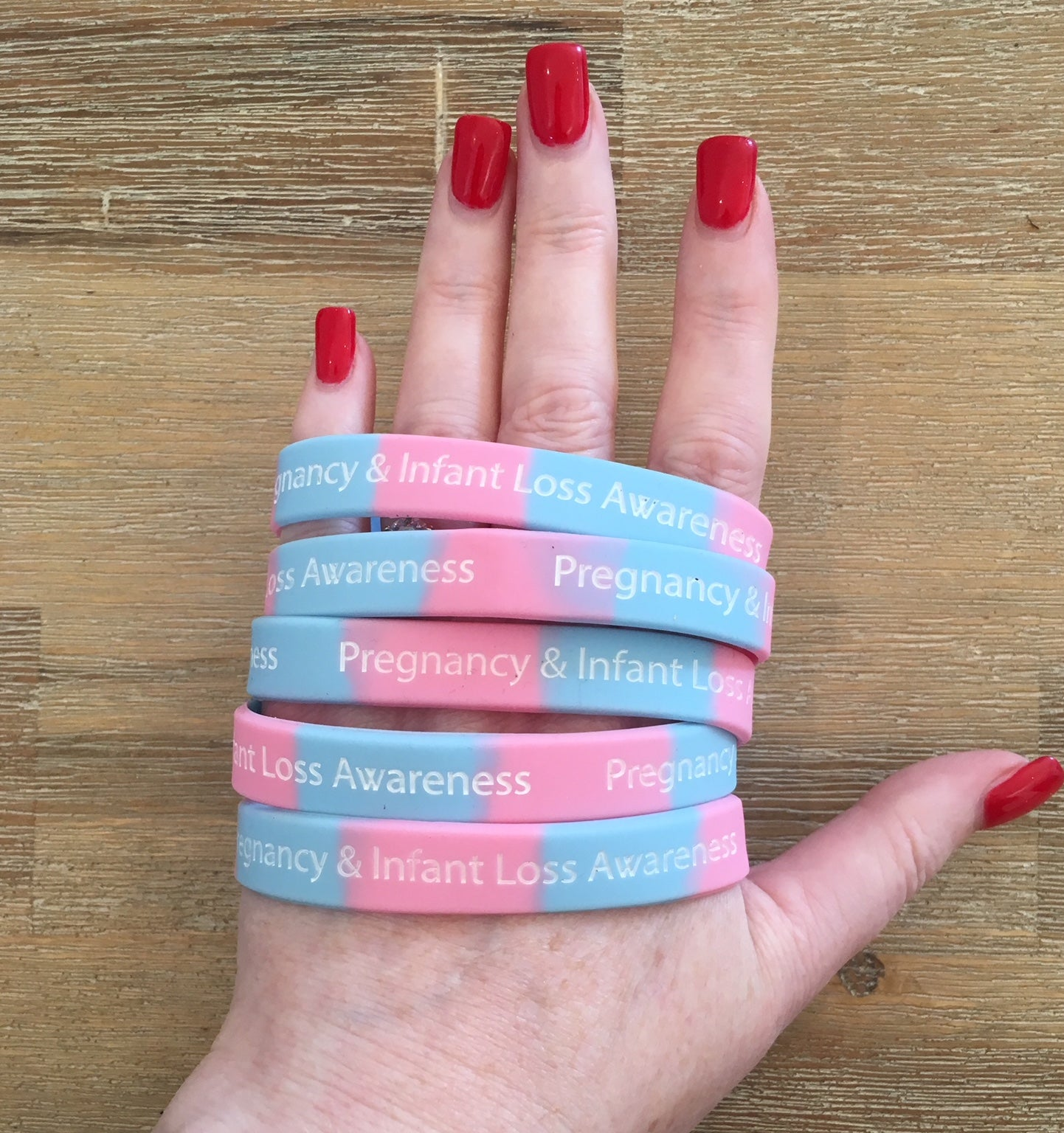 """Pregnancy & Infant Loss Awareness"" Light Pink & Blue Wristbands"