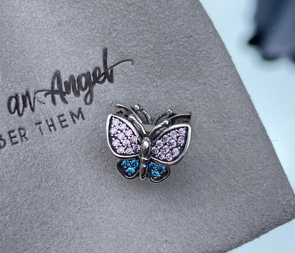 Pink & Blue S925 (Sterling Silver) Butterfly Charm