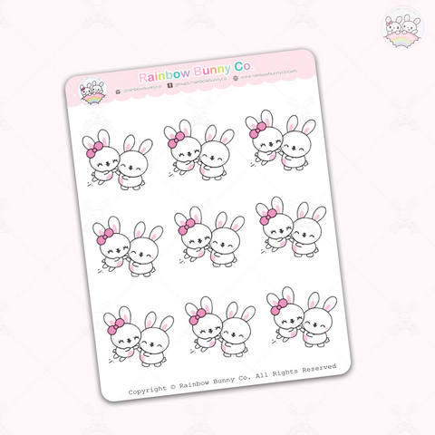 Binky & Foo Foo Excited Hug - Sticker Sheet