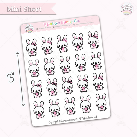Binky & Foo Foo Heart - Chonky Version - Mini Sticker Sheet