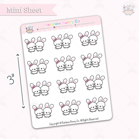 Binky & Foo Foo Hug - Chonky Version - Mini Sticker Sheet