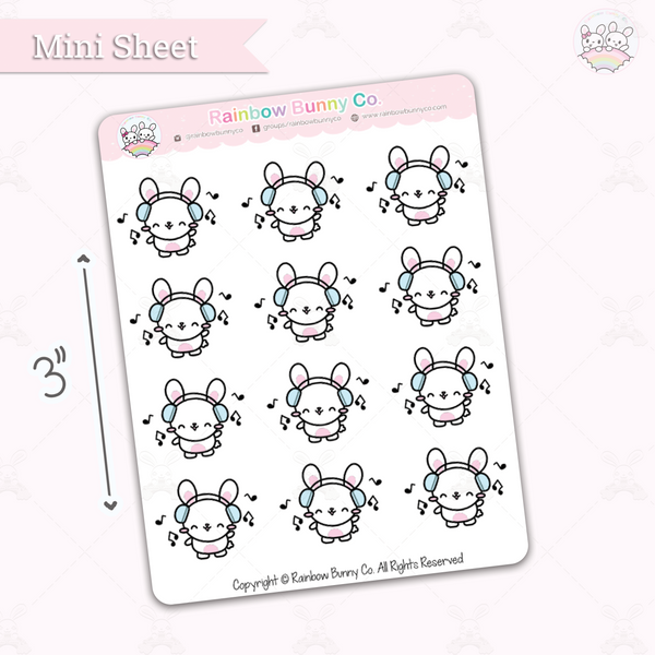 Binky Listens to Music - Chonky Version - Mini Sticker Sheet