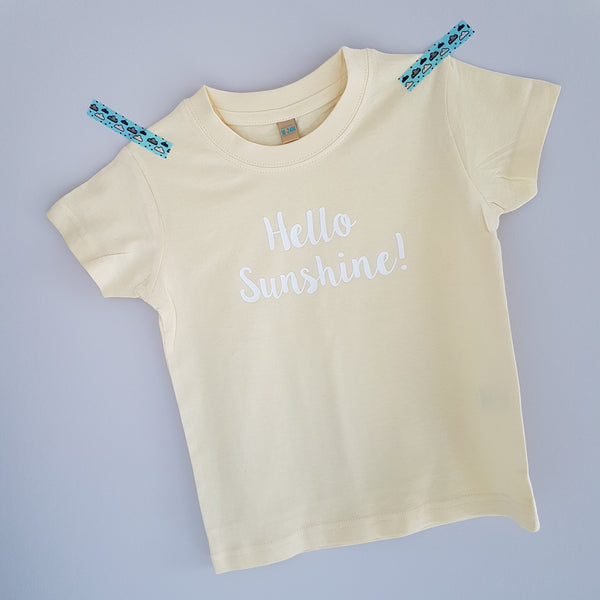 Yellow tshirt with hello sunshine vinyl print in white