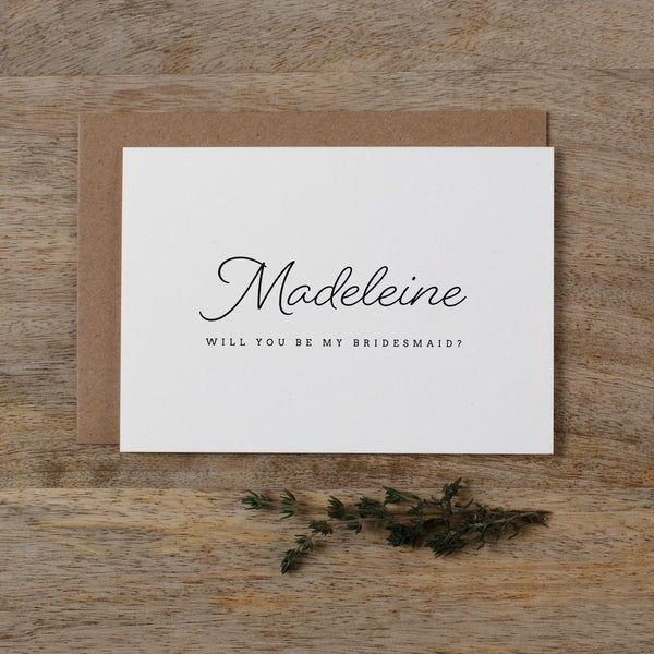 PERSONALISED WILL YOU BE MY BRIDESMAID - madeleine