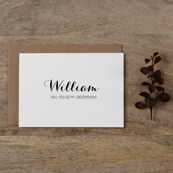 Will you be my cards kismet weddings personalised will you be my groomsman audrey junglespirit Image collections