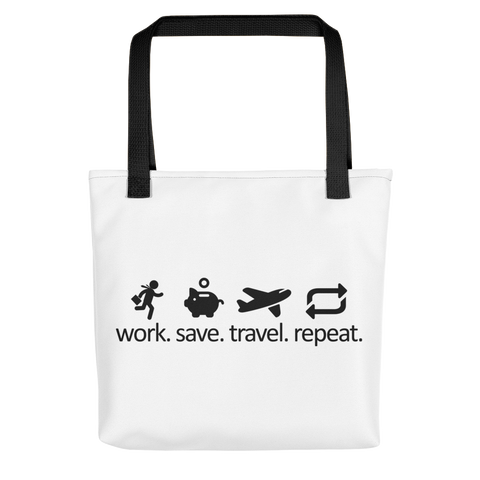 Work Save Travel Repeat (Black) - Tote bag